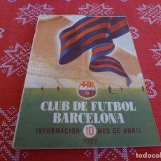 Coleccionismo deportivo: (ENC) BOLETÍN F.C.BARCELONA ABRIL-1955- ESTÁ EN MARCHA EL NUEVO ESTADIO CAMP NOU DEL BARÇA. Lote 195119316