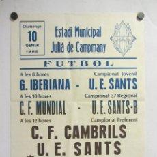 Coleccionismo deportivo: UNIÓ ESPORTIVA SANTS - CF CAMBRILS. CARTEL PARTIDO DE FÚTBOL CATALÁN 1982. PUBLICIDAD CERVEZA . Lote 196904645