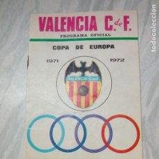Coleccionismo deportivo: FUTBOL - PROGRAMA OFICIAL COPA DE EUROPA - OCTUBRE 1971 . VALENCIA C.F.- UJPEST DOZSA S.C. HUNGRIA. Lote 196977556
