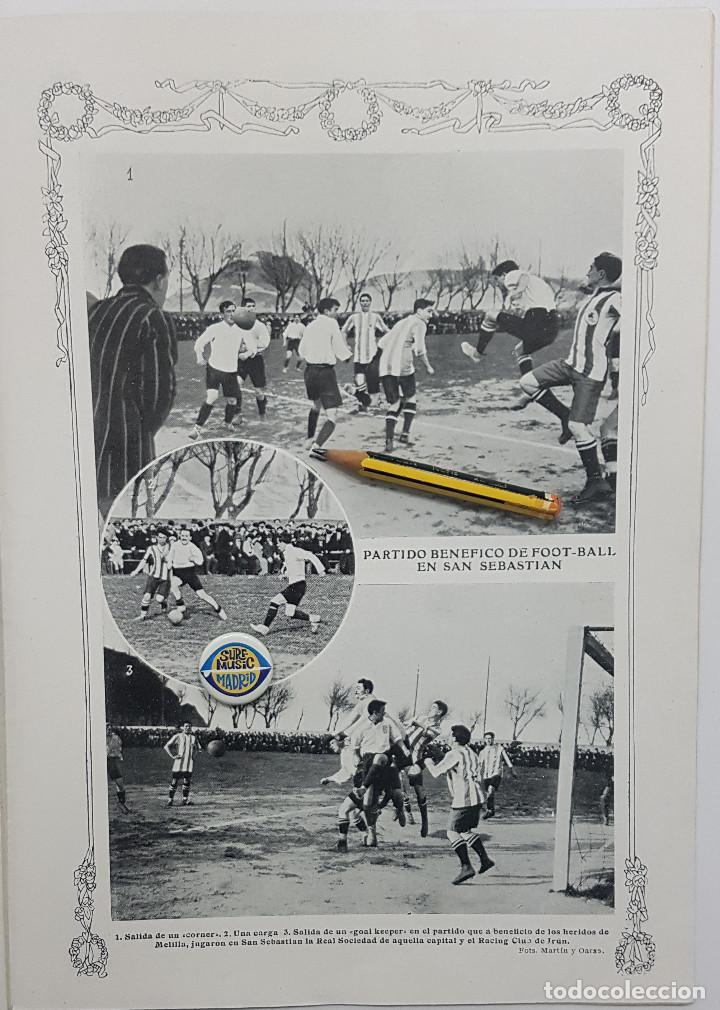 1912 HOJA. FUTBOL.PARTIDO BENÉFICO FOOT-BALL SAN SEBASTIÁN DE REAL SOCIEDAD Y RACING CLUB IRÚN (Coleccionismo Deportivo - Revistas y Periódicos - otros Fútbol)