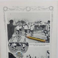 Coleccionismo deportivo: 1912 HOJA. FUTBOL.PARTIDO BENÉFICO FOOT-BALL SAN SEBASTIÁN DE REAL SOCIEDAD Y RACING CLUB IRÚN. Lote 197506490