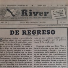 Coleccionismo deportivo: ALFREDO DI STEFANO. REVISTA RIVER PLATE NÚMERO 117 DE 5 DICIEMBRE 1946. Lote 199297630