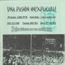 Coleccionismo deportivo: FANZINE JUVENTUDES VERDIBLANCAS 43 TEMP. 00-01 RACING SANTANDER ULTRAS HOOLIGANS. Lote 245881455
