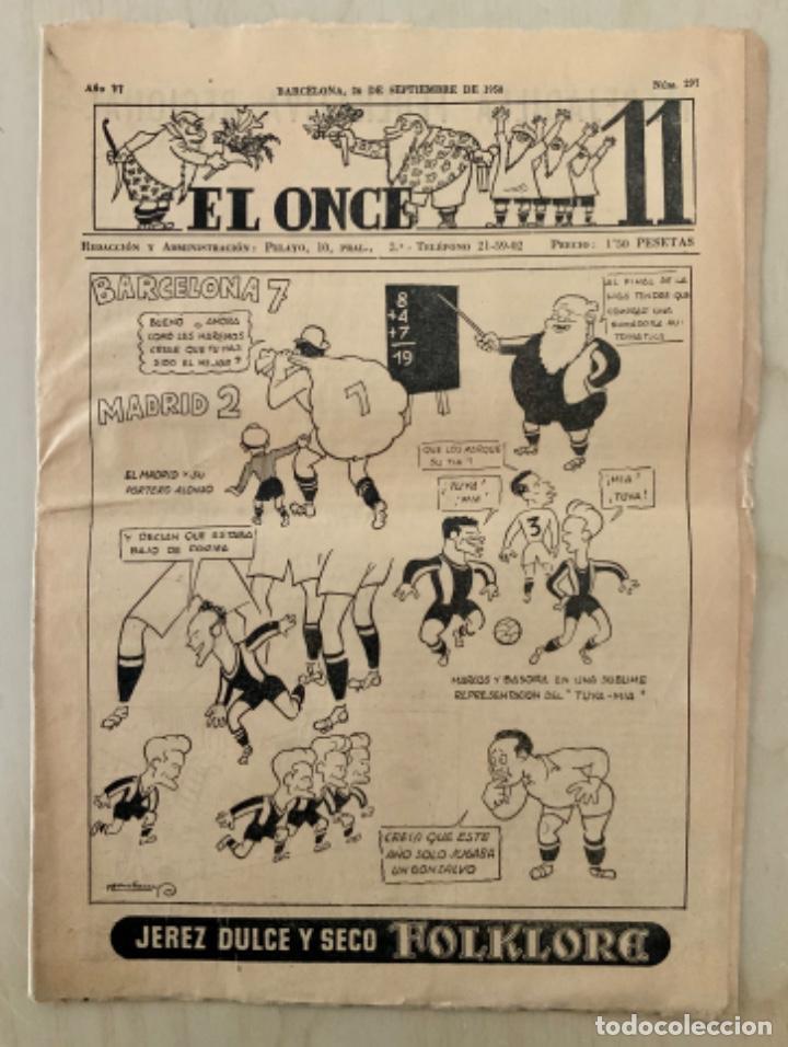 REVISTA (PERIÓDICO) EL ONCE N 297 26 DE SEPTIEMBRE DE 1950 BARCELONA 7 MADRID 2 (Coleccionismo Deportivo - Revistas y Periódicos - otros Fútbol)