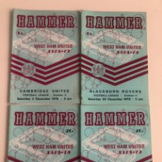 Coleccionismo deportivo: LOTE 4 PROGRAMAS OFICIALES WEST HAM UNITED TEMPORADA 78-79 CARDIFF LEICESTER BLACKBURN CAMBRIDGE. Lote 205604695