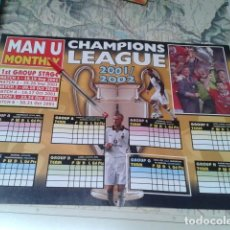 Coleccionismo deportivo: POSTER DOBLE MANCHESTER UNITED ( CHAMPIONS LEAGUE 2001/02 + LAURENT BLANC ) MONTHL Y. Lote 206784932
