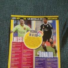 Coleccionismo deportivo: CRISTIANO RONALDO CR7 REAL MADRID Y LEO MESSI BARCELONA + REPORTAJE DATOS 2 PÁGINAS REVISTA JUGÓN. Lote 207284046
