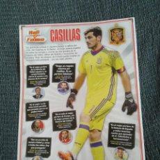Coleccionismo deportivo: CASILLAS REAL MADRID ESPAÑA HALL OF FAME TIPO PÓSTER 1 PÁGINA REVISTA JUGÓN CON DATOS + CARAS NUEVAS. Lote 207288432