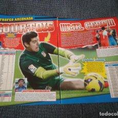 Coleccionismo deportivo: COURTOIS ATLÉTICO MADRID TIPO PÓSTER + REPORTAJE REVISTA JUGÓN + AGÜERO ISCO CAVANI BALE LUIS SUÁREZ. Lote 207297287