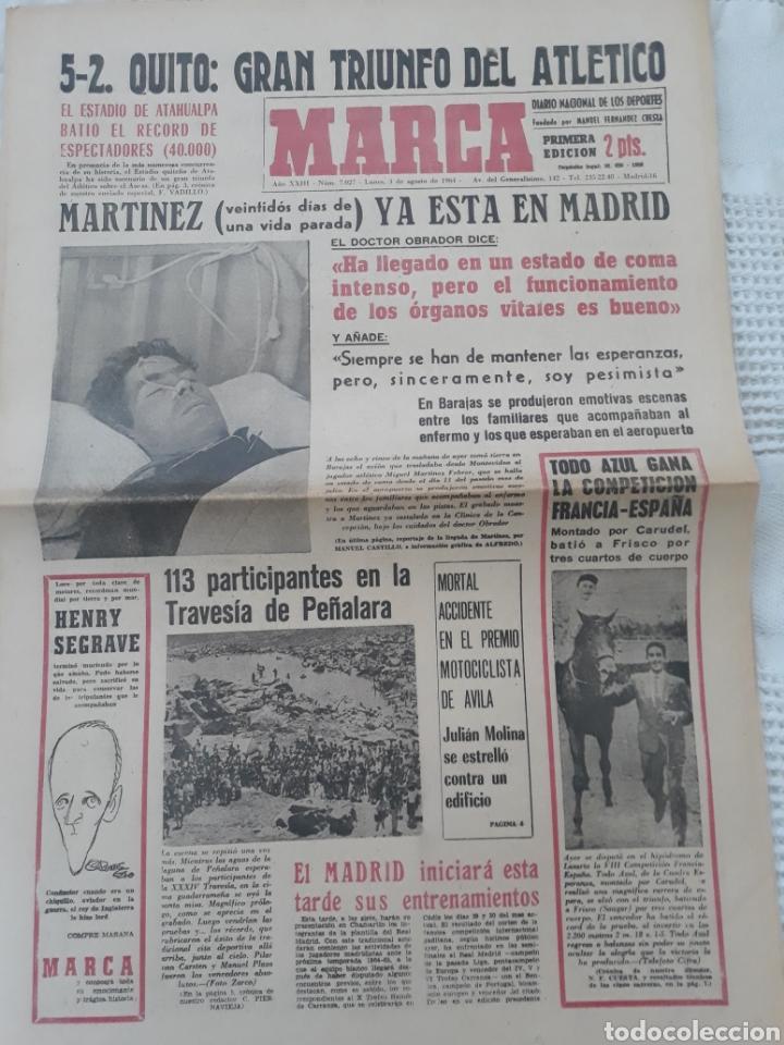 DIARIO MARCA 3-2- 1964 . MARTINEZ , AT DE MADRID 22 DÍAS EN ESTADO DE COMA LLEGA A MADRID . (Coleccionismo Deportivo - Revistas y Periódicos - otros Fútbol)