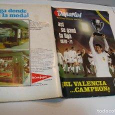 Coleccionismo deportivo: FÚTBOL REVISTA: DEPORTES GRAFICO ROTATIVO SEMANAL. EL VALENCIA CAMPEÓN (A.1970-1971). Lote 208110795