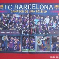 Collezionismo sportivo: POSTER DOBLE REVISTA JUGON BARCELONA CAMPEON DE LIGA 2018/19 CON MESSI MAS ESPAÑA FEMENINA 2019. Lote 210396303