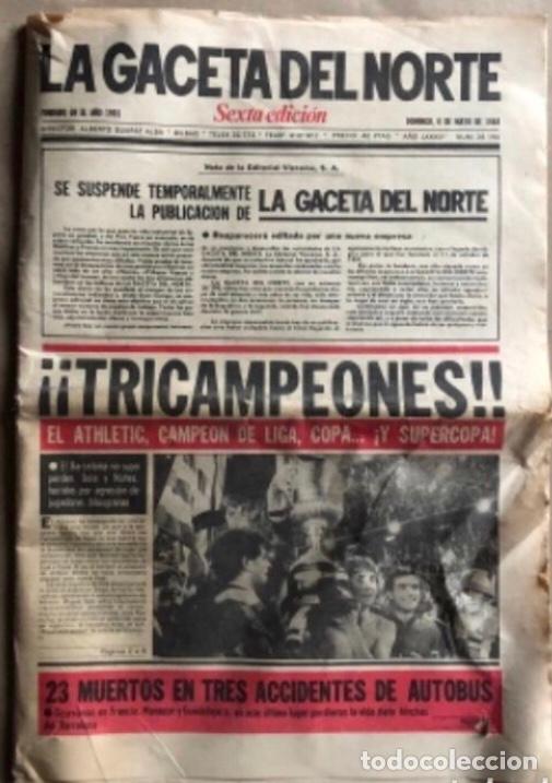 ATHLETIC CLUB BILBAO, ¡¡TRICAMPEONES!!. LA GACETA DEL NORTE 6/5/1984. (Coleccionismo Deportivo - Revistas y Periódicos - otros Fútbol)