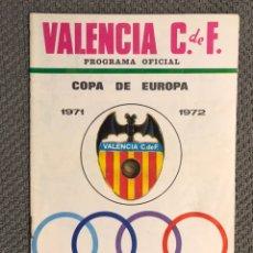 Collezionismo sportivo: FÚTBOL VALENCIA CF. PROGRAMA OFICIAL (15/09/71) VALENCIA C DE F - KLUB HADJUK SPLIT. Lote 212817340