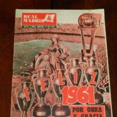 Collectionnisme sportif: REVISTA OFICIAL REAL MADRID, ENERO 1961, N°128, PORTADA FELIZ 1961, APORTACIÓN DEL MADRID A LA COPA. Lote 215176085