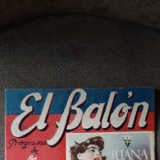 Collectionnisme sportif: REVISTA DE FUTBOL EL BALÓN, PROGRAMA DE ESPECTÁCULOS, DEPORTES, TURISMO.10 DE DICIEMBRE DE 1949.. Lote 215924326