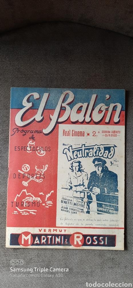 REVISTA FÚTBOL EL BALÓN.PROGRAMA DE ESPECTÁCULOS,DEPORTES, TURISMO. (Coleccionismo Deportivo - Revistas y Periódicos - otros Fútbol)