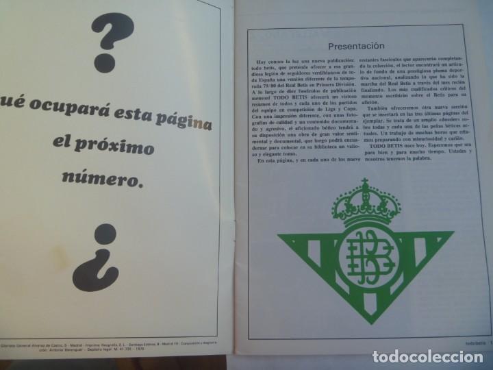Coleccionismo deportivo: REVISTA TODO BETIS , Nº 0 , TEMPORADA 1079 / 80 . OCTUBRE 1979. INCLUYE POSTER - Foto 2 - 220298512