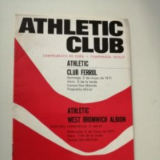 Collectionnisme sportif: ATHLETIC CLUB DE BILBAO PROGRAMA PARTIDO HOMENAJE A ORUE WEST BROMWICH ALBION 1971. Lote 221363911