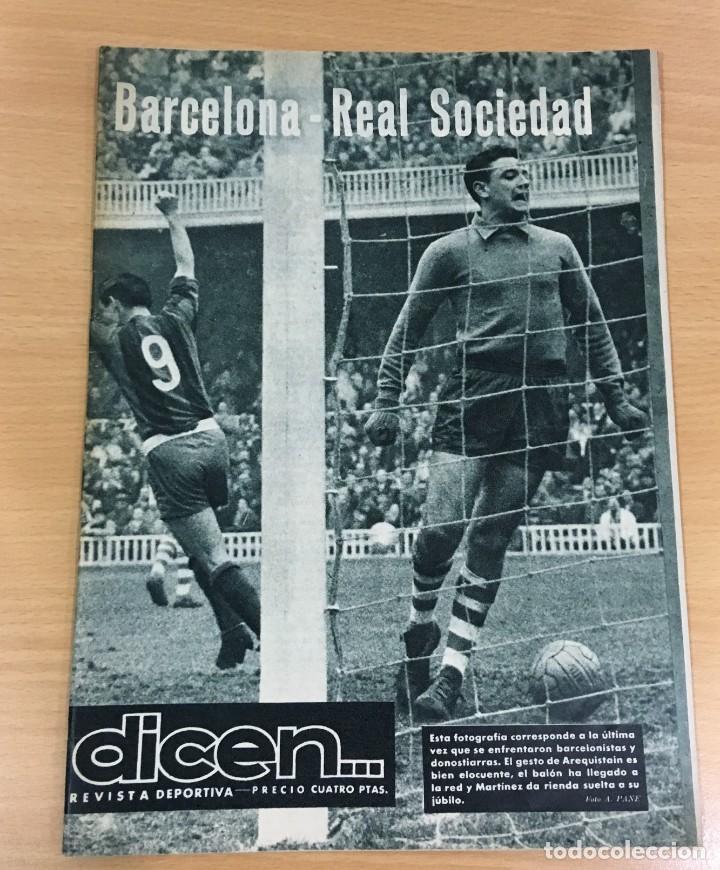REVISTA DICEN AÑO VIII Nº 363 - 14 NOVIEMBRE 1959 - PRE PARTIDO CF BARCELONA REAL SOCIEDAD - FCB (Coleccionismo Deportivo - Revistas y Periódicos - otros Fútbol)