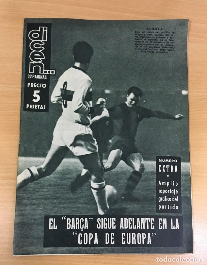 REVISTA DICEN AÑO VIII Nº 365 - 28 NOVIEMBRE 1959 - CF BARCELONA 5 AC MILAN 1 - FCB (Coleccionismo Deportivo - Revistas y Periódicos - otros Fútbol)
