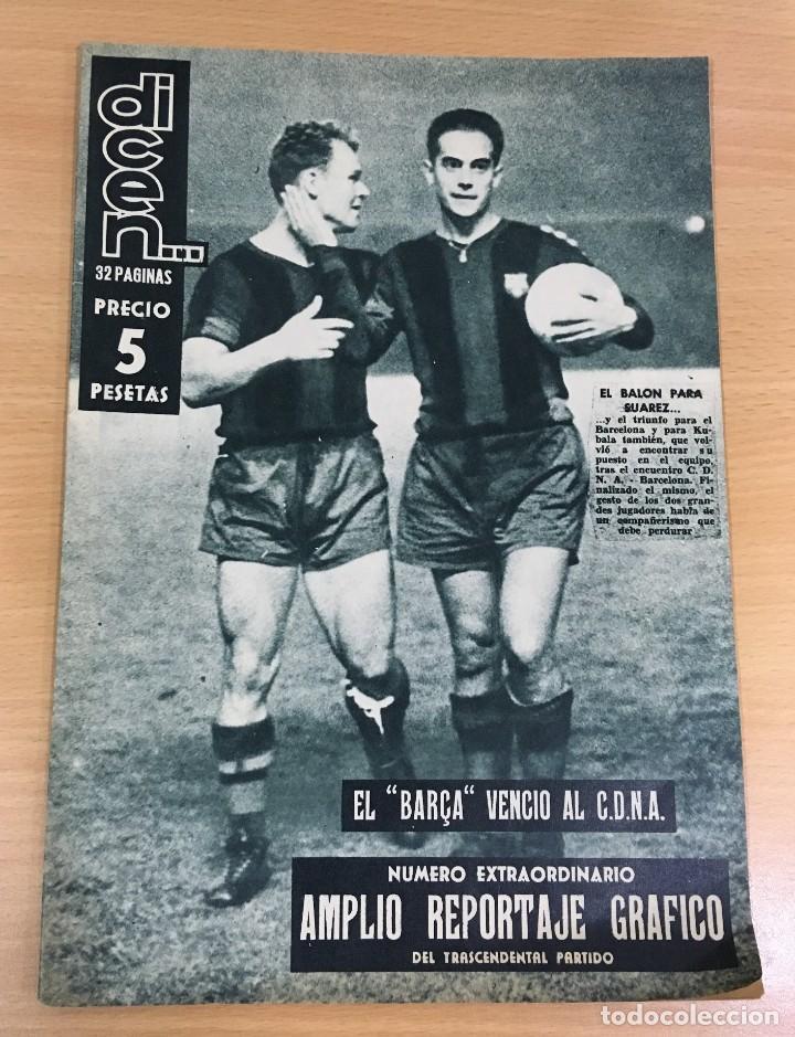 REVISTA DICEN AÑO VIII Nº 356 - 26 SEPTIEMBRE 1959 - SUÁREZ Y KUBALA VENCEN AL CDNA (Coleccionismo Deportivo - Revistas y Periódicos - otros Fútbol)