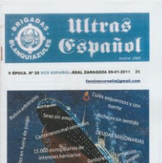 Coleccionismo deportivo: FANZINE BRIGADAS BLANQUIAZULES 25 - 09/01/11 ESPAÑOL ESPANYOL ULTRAS HOOLIGANS. Lote 222596606