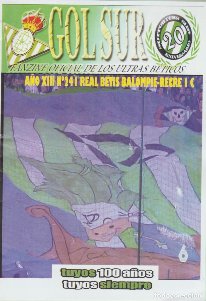 FANZINE SUPPORTERS GOL SUR NÚMERO 241 REAL BETIS ULTRAS HOOLIGANS (Coleccionismo Deportivo - Revistas y Periódicos - otros Fútbol)