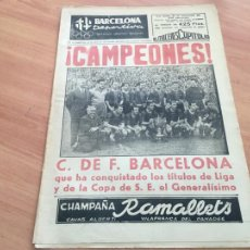 Coleccionismo deportivo: BARCELONA DEPORTIVA Nº 308 26 MAYO 1952 BARCELONA BARÇA CAMPEONES DE LIGA Y COPA (AB-3). Lote 225175938