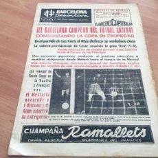 Coleccionismo deportivo: BARCELONA DEPORTIVA Nº 313 30 JUNIO 1952 BARÇA CAMPEON COPA LATINA (AB-3). Lote 225178196