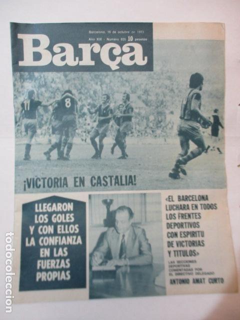 BARÇA PERIODICO Nº 935 OCTUBRE AÑO 1973 - VICTORIA EN CASTALIA (Coleccionismo Deportivo - Revistas y Periódicos - otros Fútbol)