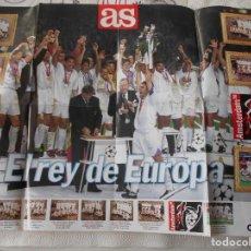Collectionnisme sportif: REAL MADRID C. F. EL REY DE EUROPA. POSTER DEL DIARIO AS DE 1998.. Lote 228305860