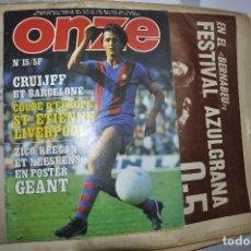 Collezionismo sportivo: REVISTA ONZE MARZO DE 1977. ARTÍCULO DEDICADO A CRUYFF Y EL BARCELONA. EN FRANCÉS.. Lote 228563970