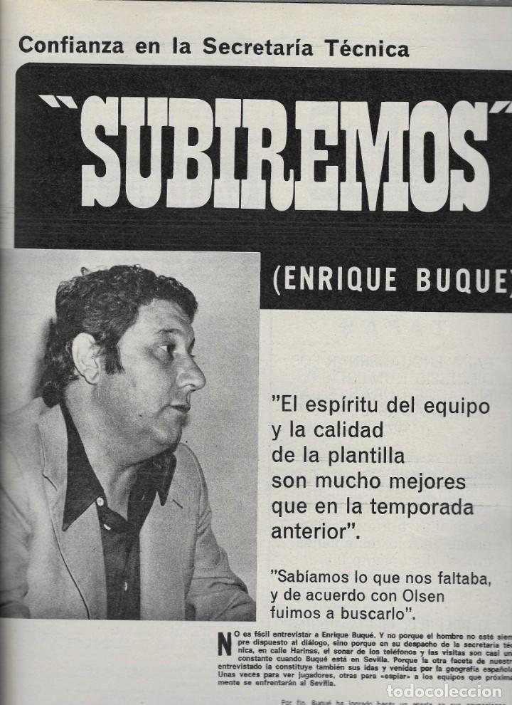 Coleccionismo deportivo: 2839. SEVILLISMO. SEPTIEMBRE 1974. ENRIQUE BUQUE - Foto 2 - 231294700