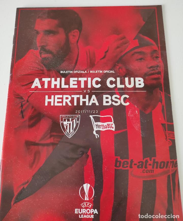 FÚTBOL - UEFA EUROPA LEAGUE - 2017-2018 - FASE DE GRUPOS - ATHLETIC CLUB VS HERTHA BERLIN - BOLETÍN (Coleccionismo Deportivo - Revistas y Periódicos - otros Fútbol)