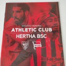 Coleccionismo deportivo: FÚTBOL - UEFA EUROPA LEAGUE - 2017-2018 - FASE DE GRUPOS - ATHLETIC CLUB VS HERTHA BERLIN - BOLETÍN. Lote 235093185