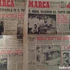 Coleccionismo deportivo: ANTIGUOS PERIÓDICO MARCA TROFEO CARRANZA 1960 REAL MADRID CAMPEÓN. Lote 236112015