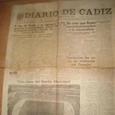 Coleccionismo deportivo: ANTIGUO DIARIO PERIODICO DIARIO DE CADIZ - 31 AGOSTO 1958 - IV TROFEO RAMON DE CARRANZA. Lote 236120250