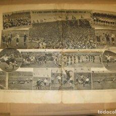 Coleccionismo deportivo: ALEMANIA VS ESPAÑA-2 PAGINAS DE PERIODICO CON FOTOS-BANDERAS NAZIS-15 MAYO 1935-VER FOTOS-(V-22.536). Lote 243649245