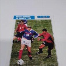 Collectionnisme sportif: FICHA ONZE MONDIAL FRANCIA 98 FRANCE - ESPAGNE.. Lote 243890415