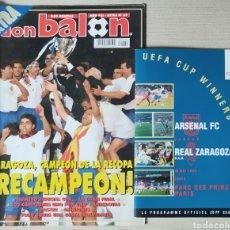 Coleccionismo deportivo: PROGRAMA OFICIAL FINAL RECOPA ZARAGOZA - ARSENAL Y EXTRA DON BALON DE LA FINAL 1995. Lote 244832325