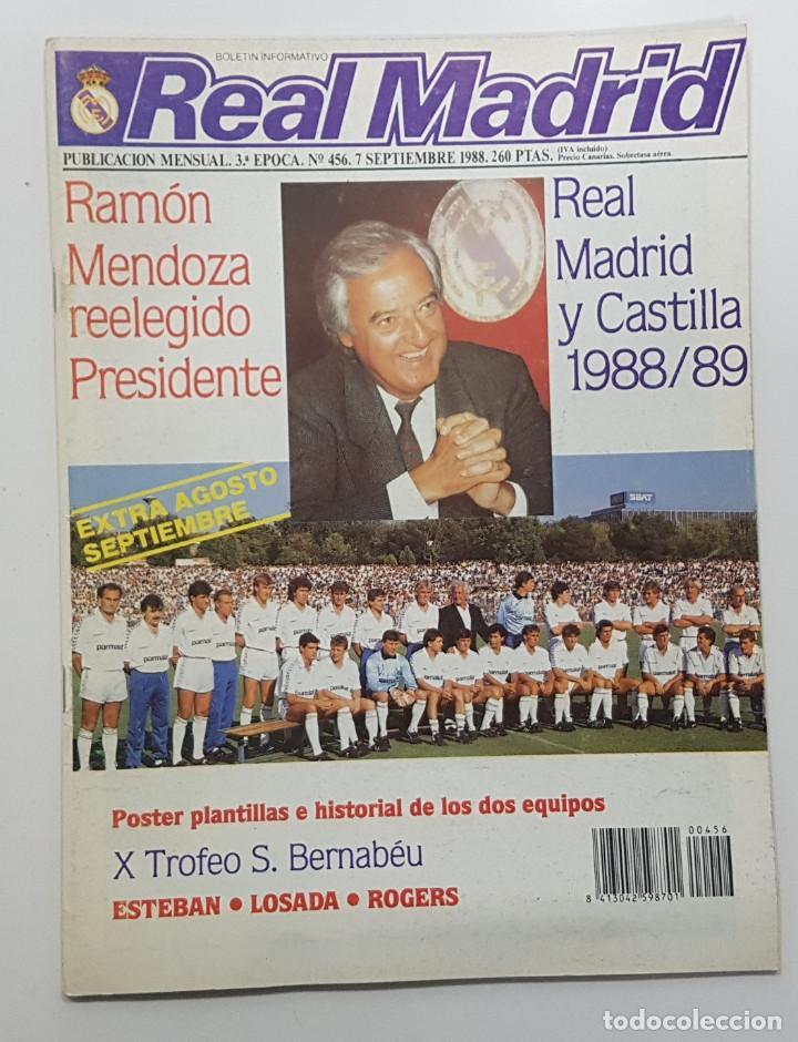 REVISTA REAL MADRID Nº 456 1988. POSTER REAL MADRID Y CASTILLA. ESTEBAN.LOSADA.CAÑIZARES.ARAGON (Coleccionismo Deportivo - Revistas y Periódicos - otros Fútbol)