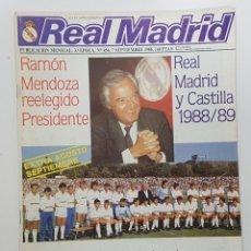 Coleccionismo deportivo: REVISTA REAL MADRID Nº 456 1988. POSTER REAL MADRID Y CASTILLA. ESTEBAN.LOSADA.CAÑIZARES.ARAGON. Lote 245028940