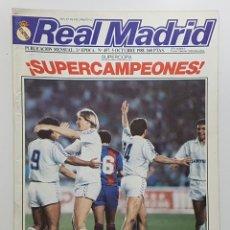 Coleccionismo deportivo: REVISTA REAL MADRID Nº 457 1988. POSTER SCHUSTER, ENTREVISTAS CAMACHO, ALDANA. JULIO LLORENTE. PEÑAS. Lote 245029265