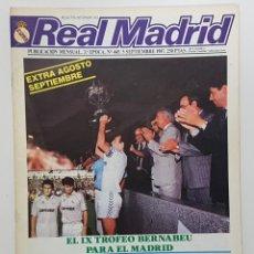 Coleccionismo deportivo: REVISTA REAL MADRID Nº 445 1987. POSTER REAL MADRID Y CASTILLA, PLANTILLAS, PACO LLORENTE,TENDILLO. Lote 245099515