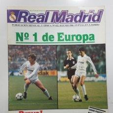 Coleccionismo deportivo: REVISTA REAL MADRID Nº 432 1986. CAMPEON UEFA, GARCIA REMON, BUYO, MACEDA,PEÑA MADRIDISTA EL PARRAL. Lote 245110480