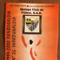 Collectionnisme sportif: ATHLETIC CLUB DE BILBAO 2-2 MÁLAGA C.F. PROGRAMA OFICIAL PARTIDO JORNADA 26, TEMPORADA 1999/00.. Lote 178250860