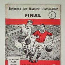 Coleccionismo deportivo: PROGRAMA OFICIAL ATLÉTICO DE MADRID - FIORENTINA FINAL DE LA RECOPA 1962. Lote 250124440