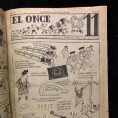 Coleccionismo deportivo: EXTRAORDINARIO LOTE REVISTAS DEPORTIVAS EL ONCE AÑO 1947 COMPLETO ENCUADERNADO DEL NUMERO 102 AL 154. Lote 250228380
