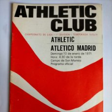 Colecionismo desportivo: PROGRAMA ATHLETIC CLUB - ATLETICO MADRID TEMPORADA 1970 - 1971 (20 PÁGINAS). Lote 253485100